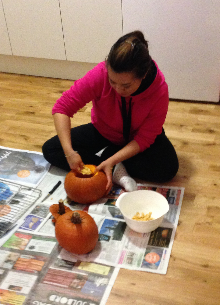 Cleaning out our pumpkins!