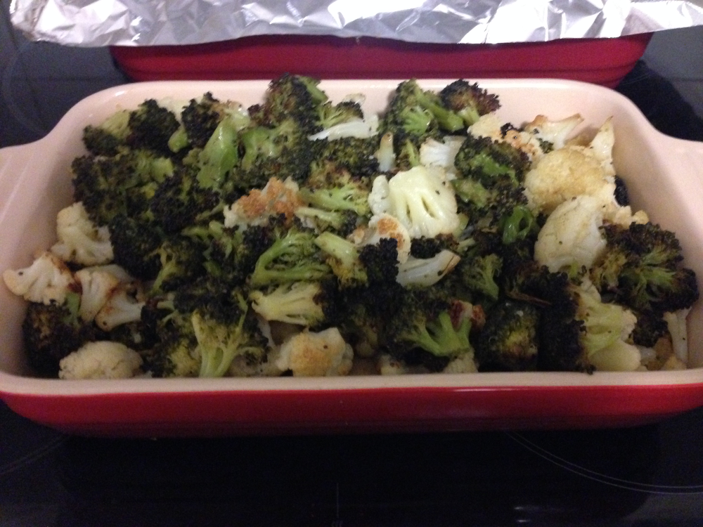 Roasted cauliflower and broccoli.